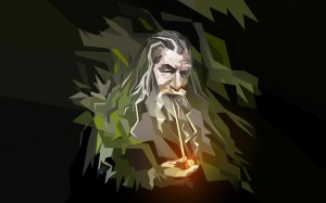 Gandalf, polygon art portrait
