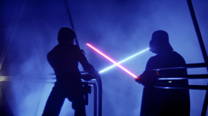 Luke and Vader, lightsabers crossed