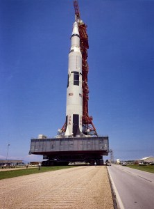 Saturn V-Apollo on transporter