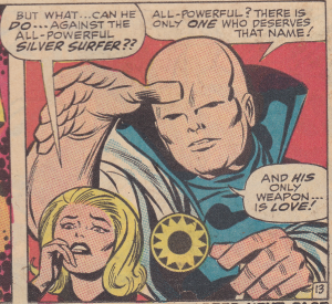 Sue Storm and the Watcher, comic panel