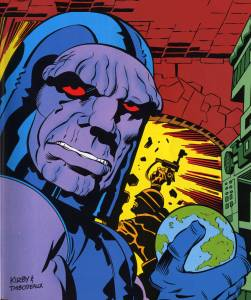 Darkseid, holding Earth