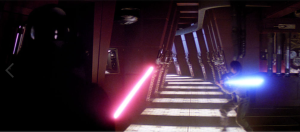 Vader uses the Force to fling objects at Luke (Empire)