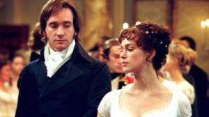 Elizabeth and Darcy look askance