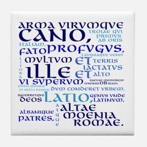 Arma virumque cano, blue tile coaster