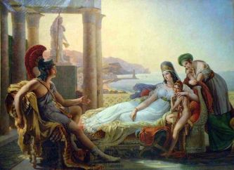 Painting of Aeneas recounting the fall of Troy to Dido