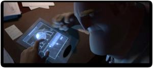Mr Incredible with Mirage's tablet message