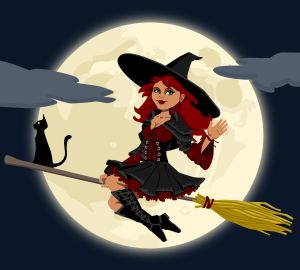 Redheaded cartoon witch on broomstick