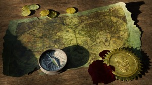 Map with compass and coins