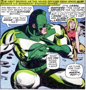 Comics scene, Mar-Vell & distressed Carol