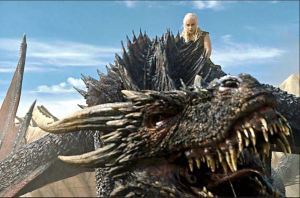 Daenerys Targaryen, mounted on dragon