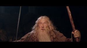 Gandalf faces Balrog with sword and staff