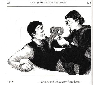 Han & Leia illustration from The Jedi Doth Return