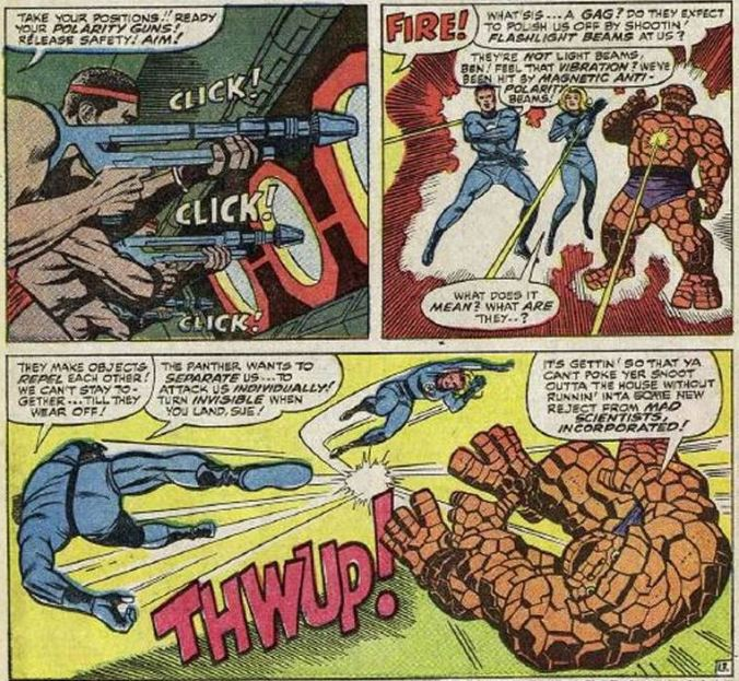 3-panel action scene from Fantastic Four number 52