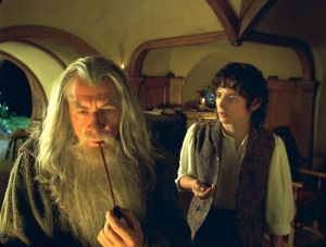 Frodo and Gandalf at Bag End