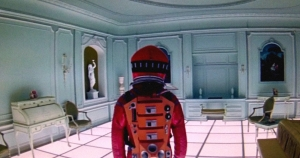Astronaut in bedroom, near end of 2001: A Space Odyssey