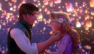 Rapunzel and Eugene in boat, in Tangled