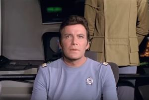 Kirk gazes forward, ending of Star Trek I